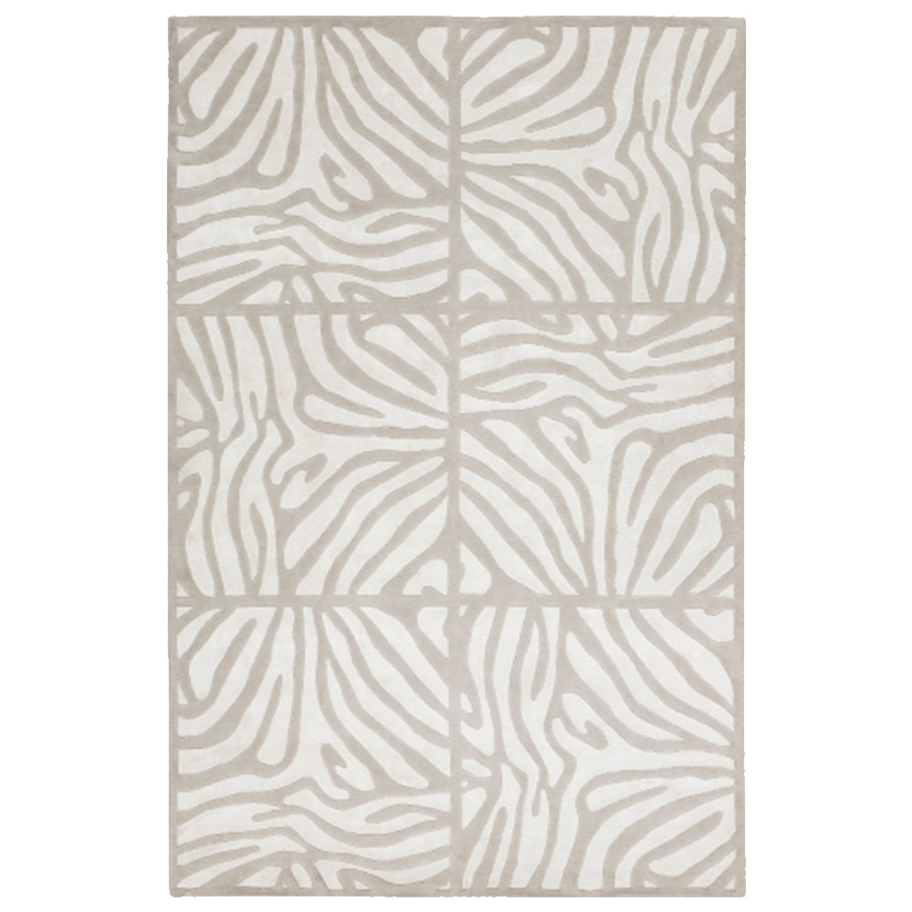 Dwell Chic-Khaki and Cream Striped Checked Rug-Rug
