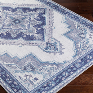 Navy and Ivory Turkish Inspired Rug