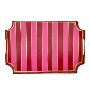 Dwell Chic-Pink and Red Striped Table Tray-Tray