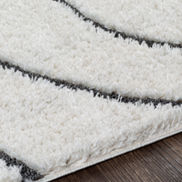 Plush Wavy Black and White Rug