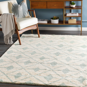 Dwell Chic-Sea Foam and Cream Diamond Patterned Rug-Rug
