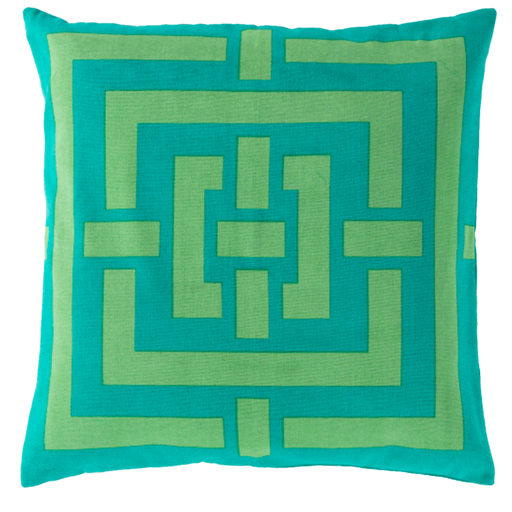 Super Squares Lime and Teal Pillow