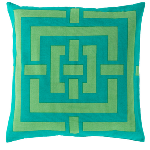 Dwell Chic-Super Squares Lime and Teal Pillow-Pillow