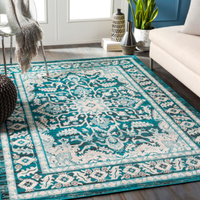 Dwell Chic-Teal and Grey Turkish Inspired Rug-Rug
