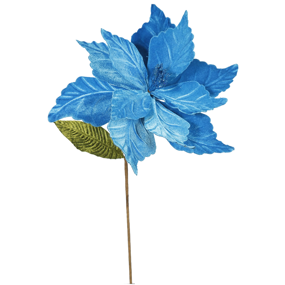 Dwell Chic-Turquoise Poinsettia Christmas Pick-Christmas Decor