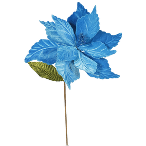 Turquoise Poinsettia Christmas Pick