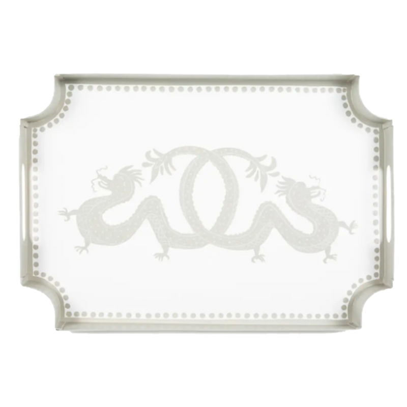 Dwell Chic-White and Taupe Dragon Tray-Tray