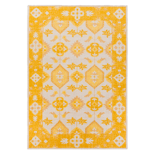 Dwell Chic-Yellow and Cream Wool Damask Rug-Rug