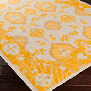 Yellow and Cream Wool Damask Rug