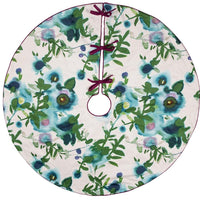 Blue and Green Floral Tree Skirt