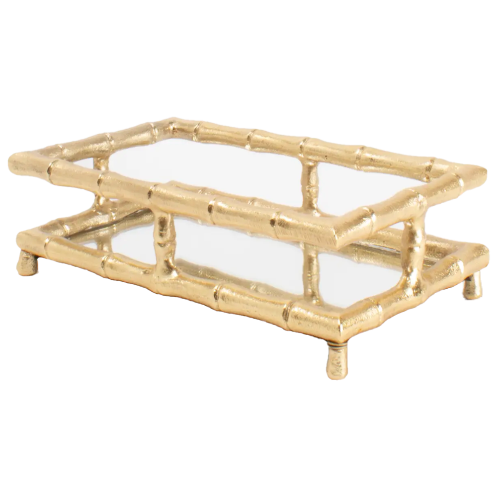 Gold Bamboo Guest Towel Tray-Tray-Dwell Chic