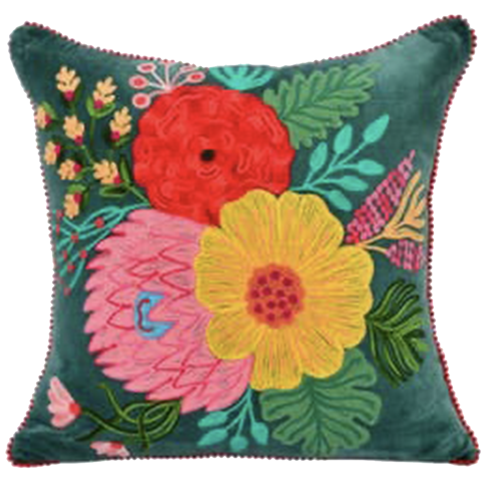 Emerald Pillow with Embroidered Flowers-Pillow-Dwell Chic