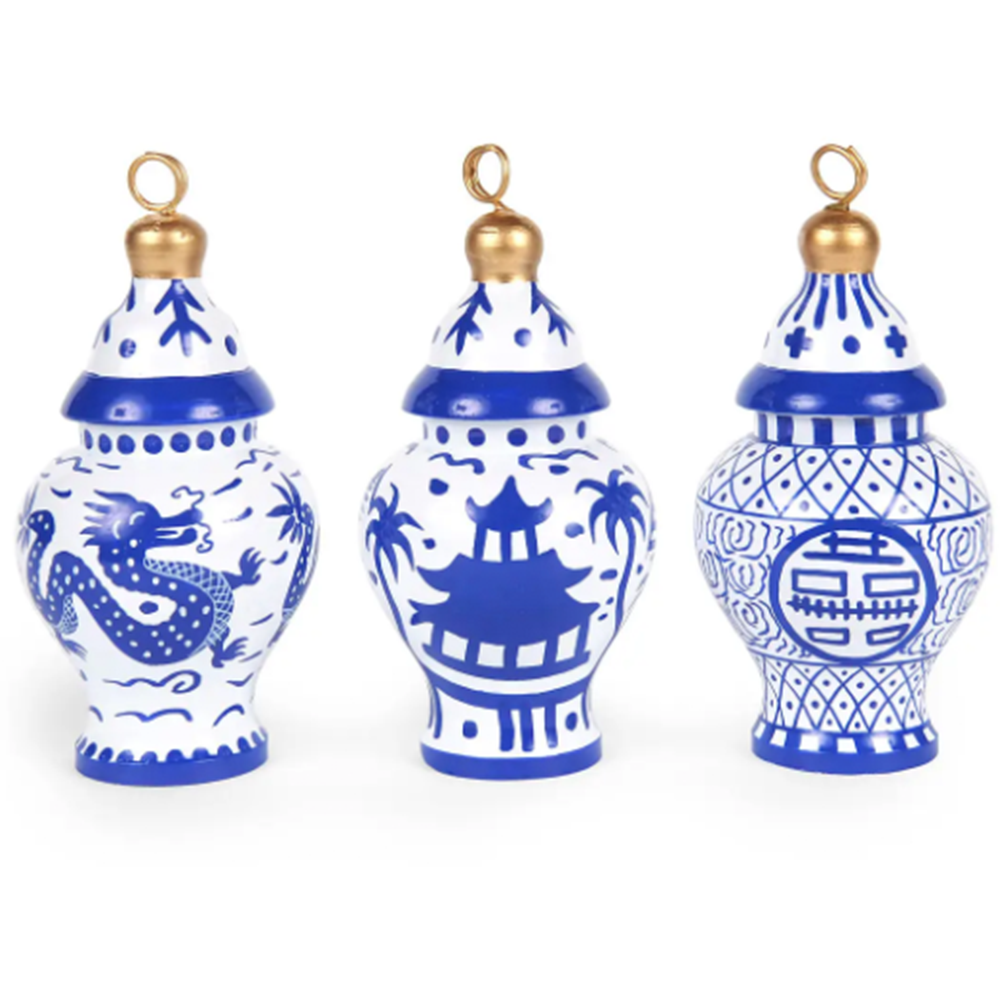 Hand Painted Ginger Jar Ornaments Set of 3