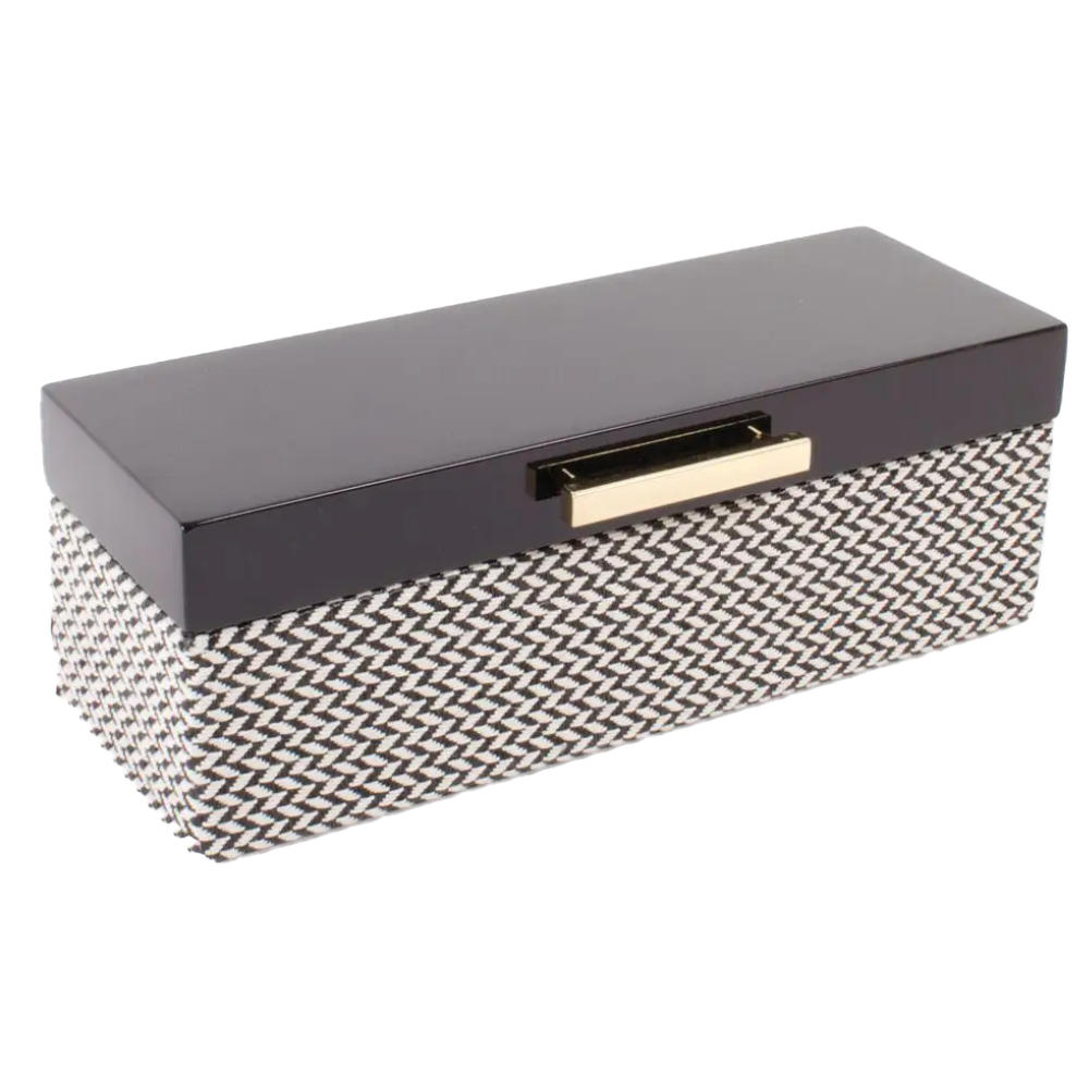 Jewelry Box Black Chevron Lacq-Box-Dwell Chic