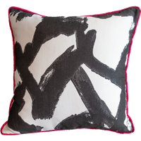 Pink Velvet and Geometric Print Pillow