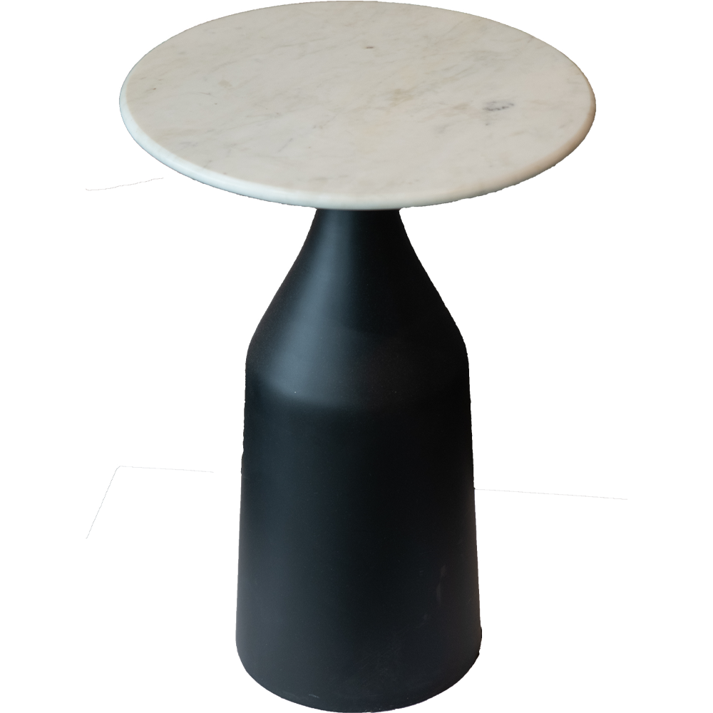 Iron and Marble Accent Table
