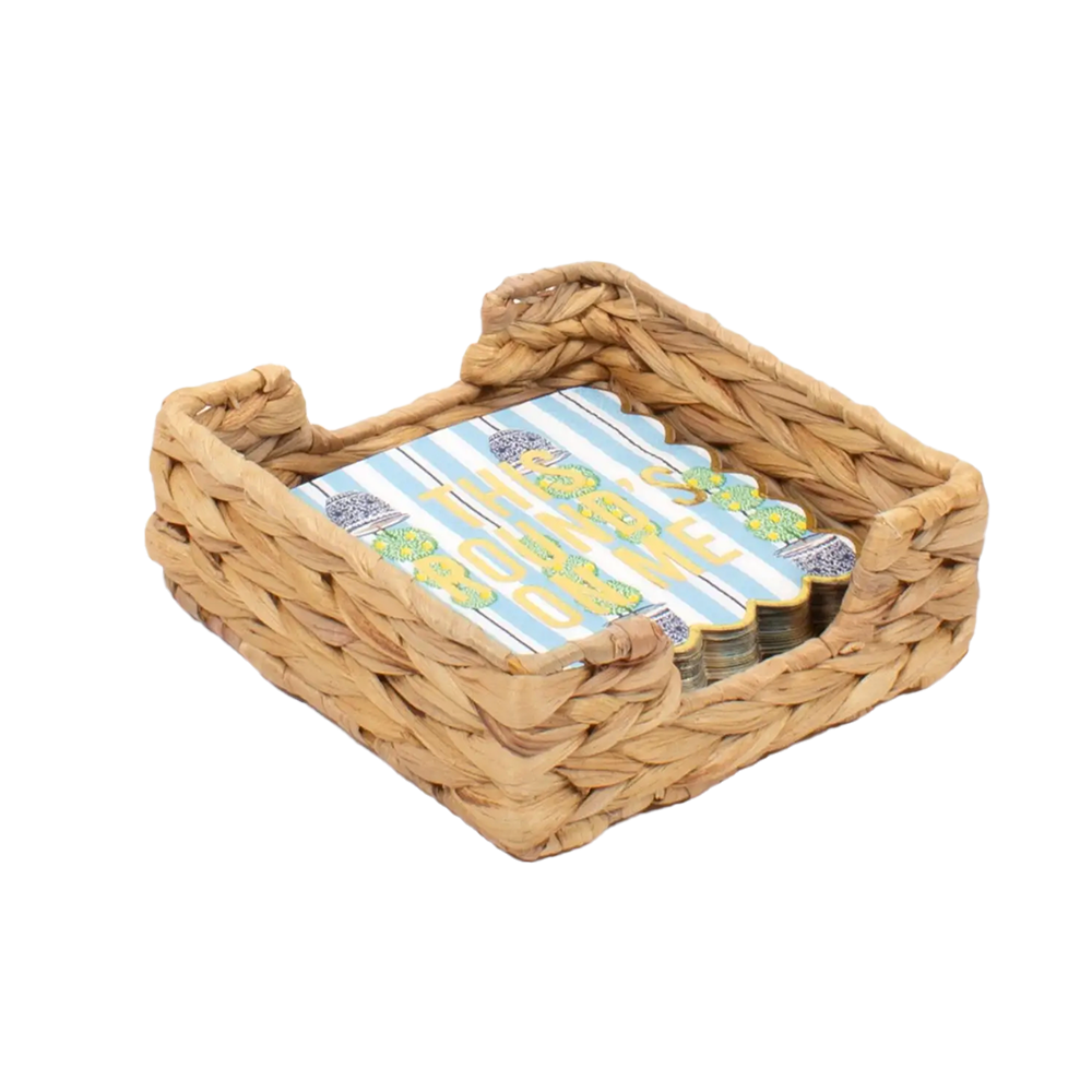Beverage Napkin Tray - Natural Woven-Tray-Dwell Chic