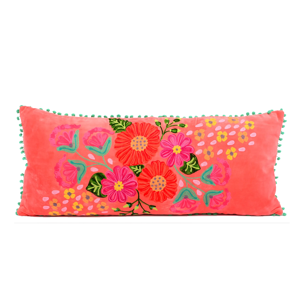 Floral Embroidered Lumbar Pillow-Pillow-Dwell Chic