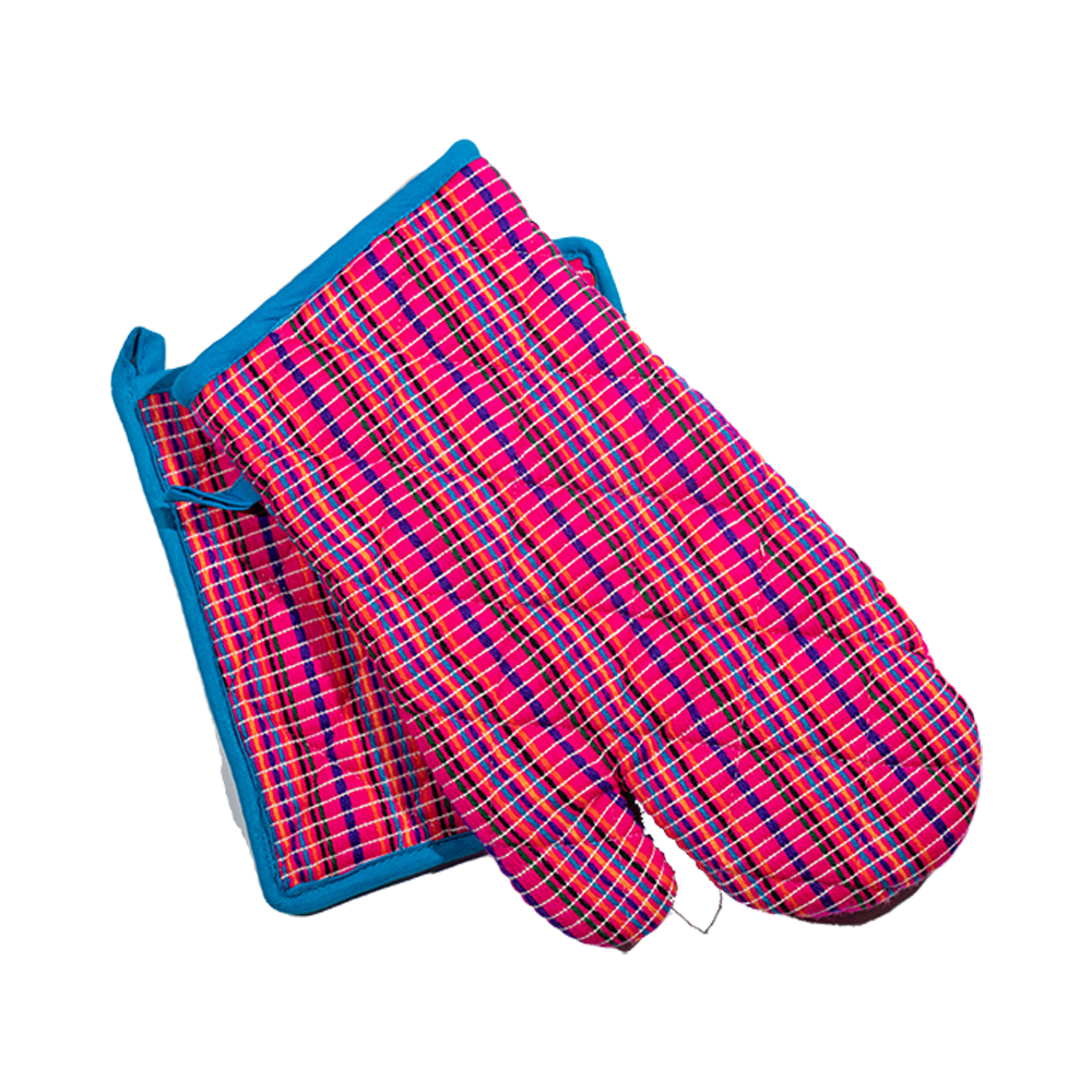 Pink and Blue Pot Holder and Oven Mitt