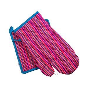 Pink and Blue Pot Holder and Oven Mitt-Pot Holder-Dwell Chic
