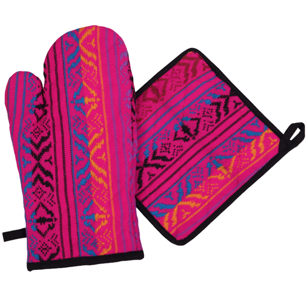 Hot Pink and Purple Oven Mitts and Pot Holders Set of 2-Pot Holder-Dwell Chic