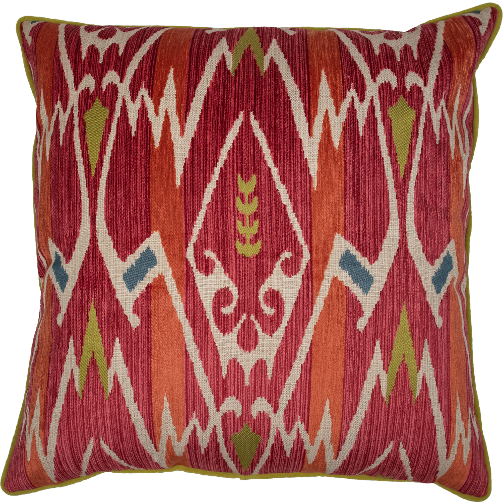 "22"" x 22"" Red and Green Velvet Geometric Patterned Pillow"