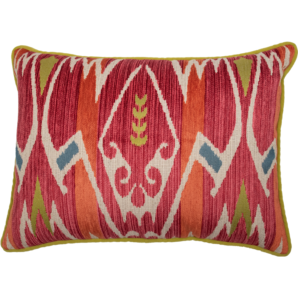 Red and Green Velvet Geometric Patterned Pillow