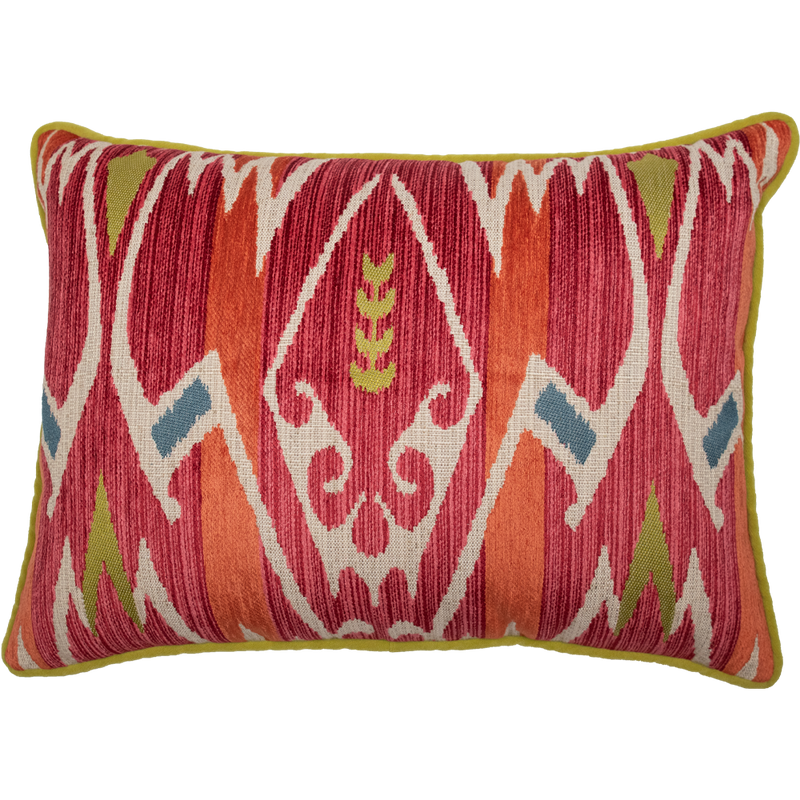 Dwell Chic-Red and Green Velvet Geometric Patterned Pillow-Pillow