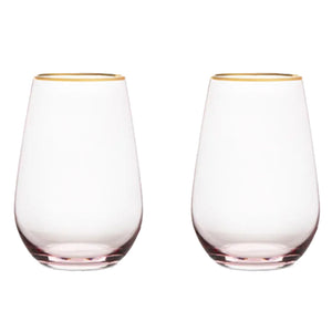 Rose Crystal Stemless Wine Glass Set of 2