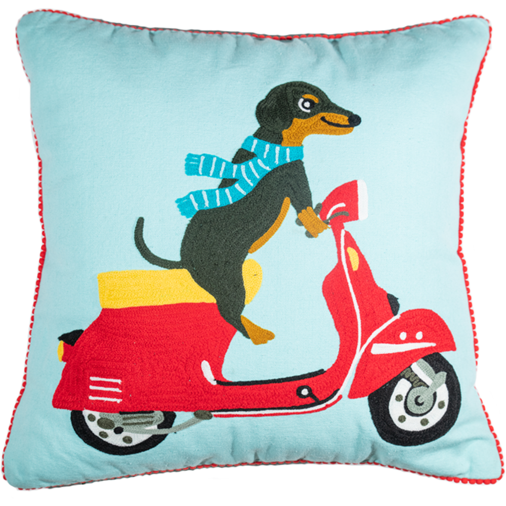 Dog on a Scooter Velvet Pillow-Pillow-Dwell Chic