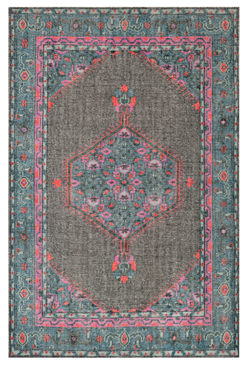 Dwell Chic-Teal and Bright Pink Hand Knotted Rug-Rug