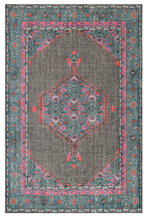 Teal and Bright Pink Hand Knotted Rug