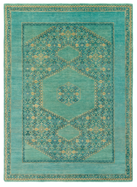 Teal and Emerald Antique Inspired Rug