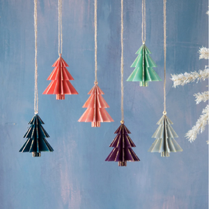 Wooden Tree Ornament Set of 4 Assorted Colors