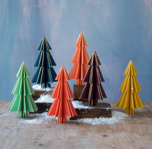 Wooden Standing Tree Decoration Set of 6