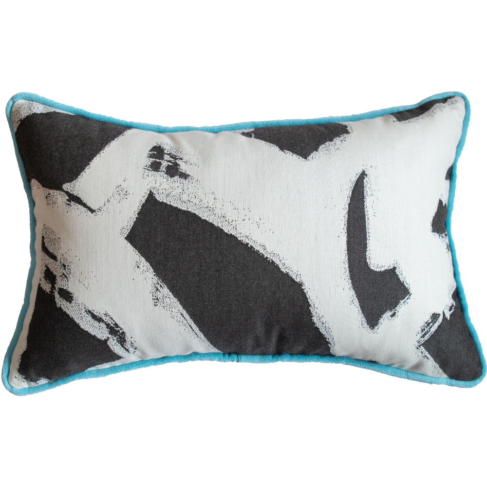 Dwell Chic-Blue Velvet and Geometric Print Pillow-Pillow