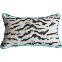 Pink Velvet and White Tiger Pillow