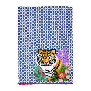 Embroidered Tiger Tea Towel-Towel-Dwell Chic