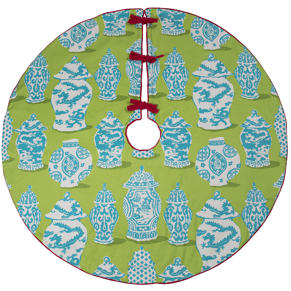 Dwell Chic-Blue and Green Ginger Jar Tree Skirt-Tree Skirt