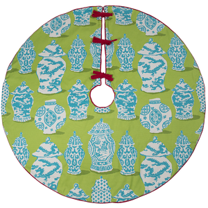 Blue and Green Ginger Jar Tree Skirt