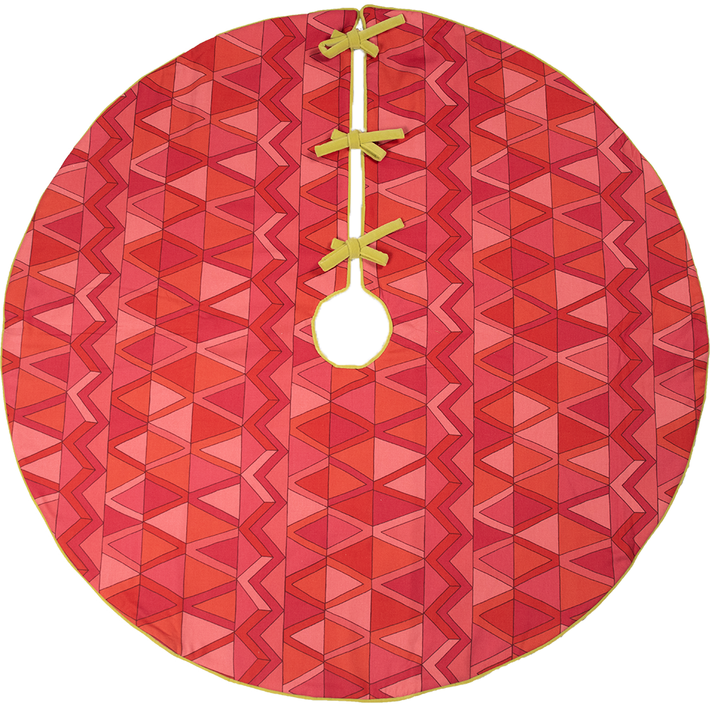 Dwell Chic-Pink, Red and Lime Green Patterned Tree Skirt-Tree Skirt