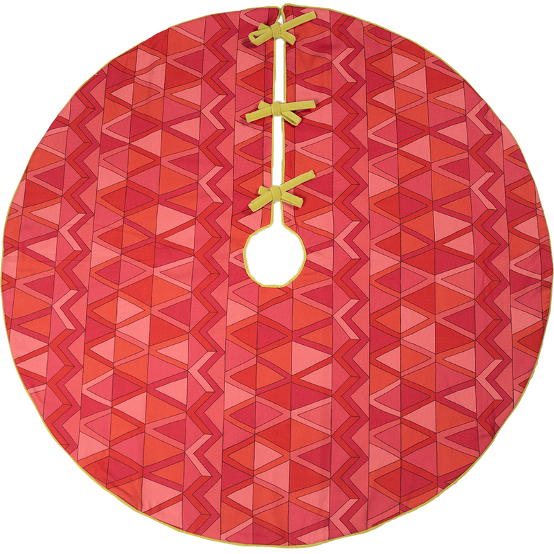 Pink, Red and Lime Green Patterned Tree Skirt