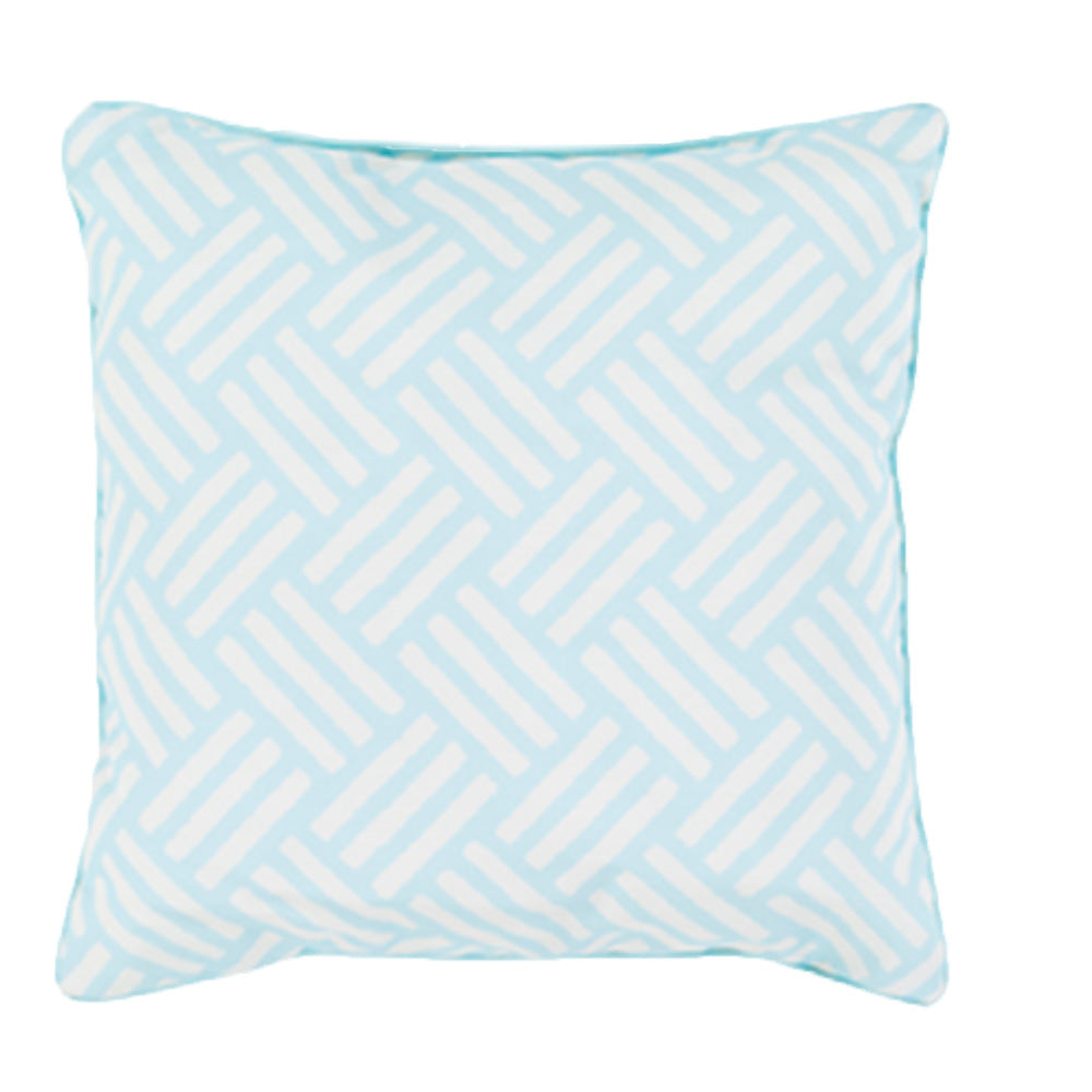 Aqua Blue Patterned Outdoor Pillow