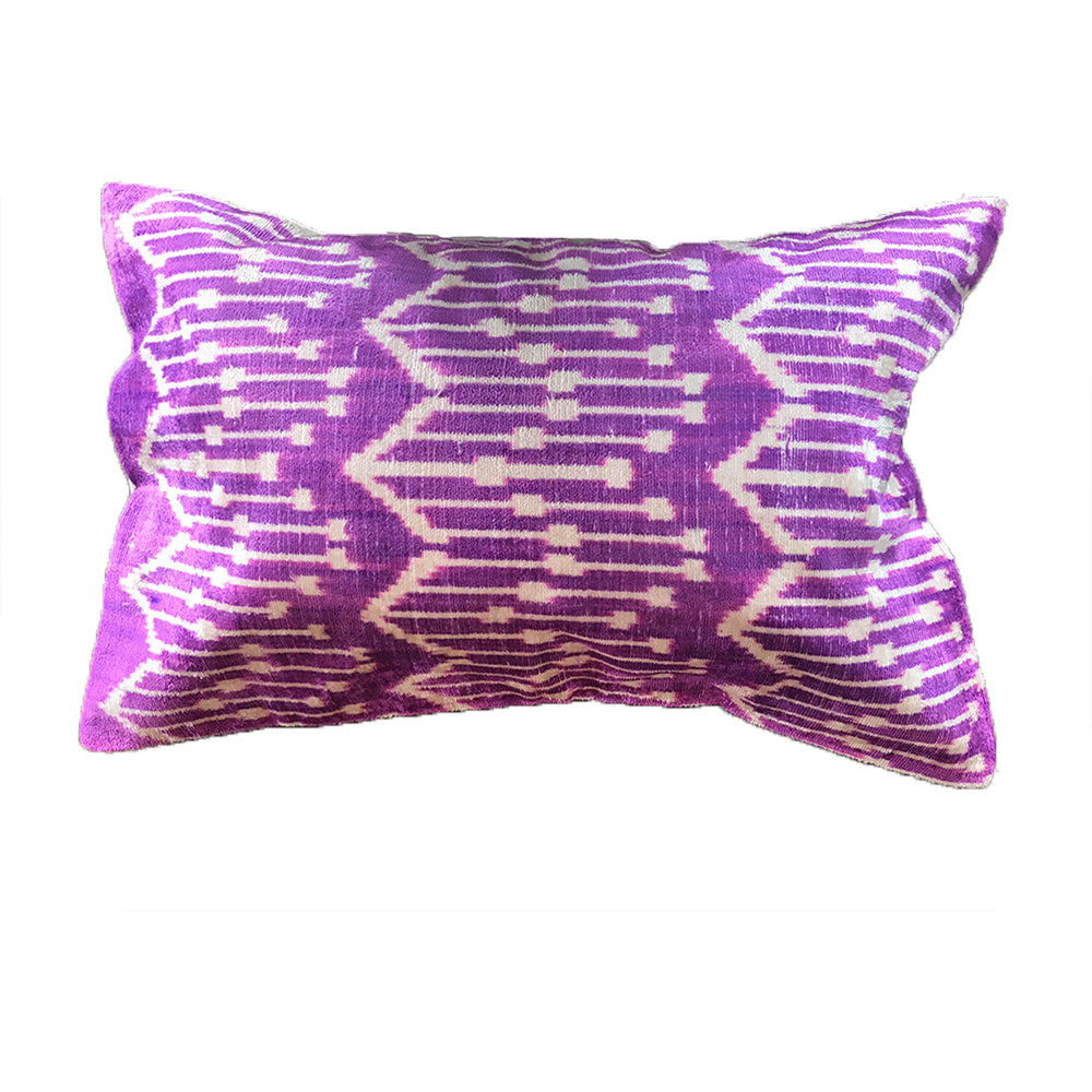 Purple Velvet Patterned Pillow