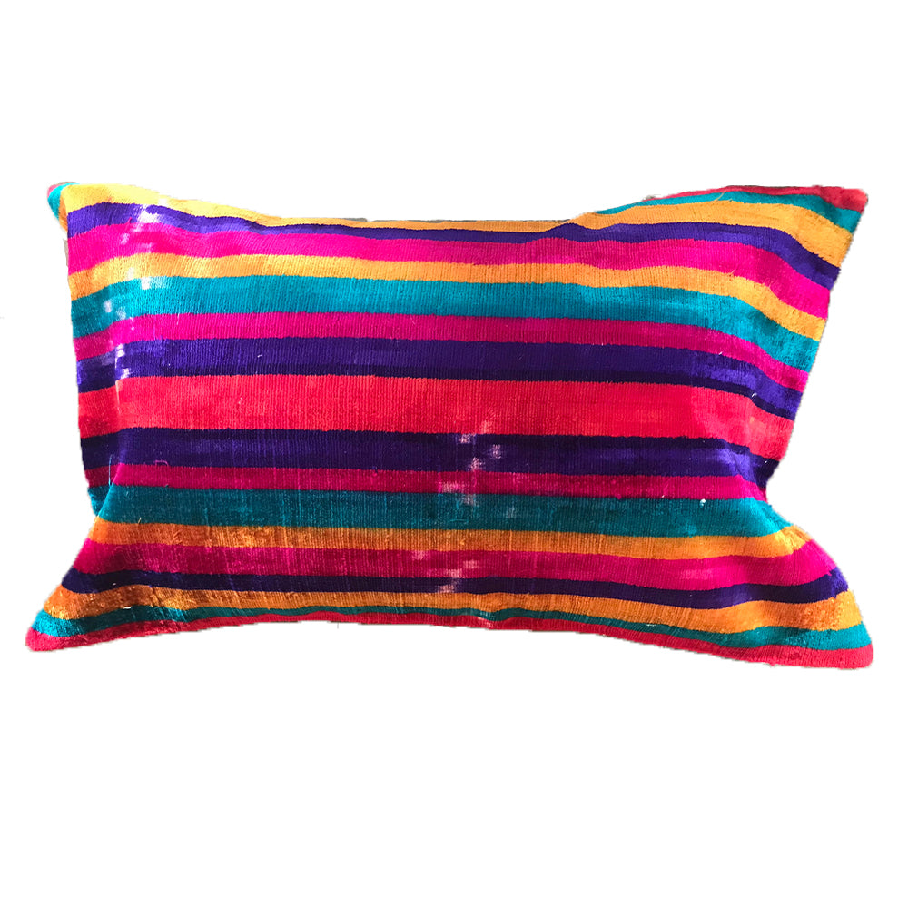 Rainbow Striped Silk Velvet Pillow