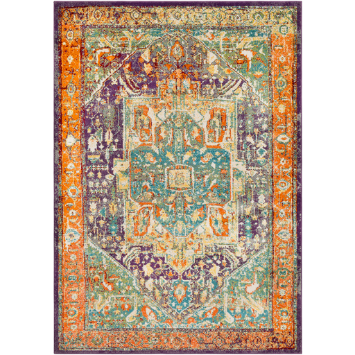Vibrant Orange Purple and Aqua Rug