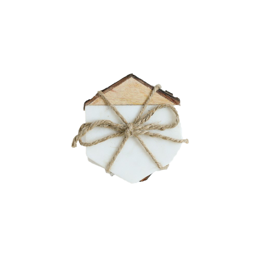 "4"" Hexagon Marble w/ Mango Wood Coasters w/ Bark Edge, White, Set of 4-Coaster-Dwell Chic"