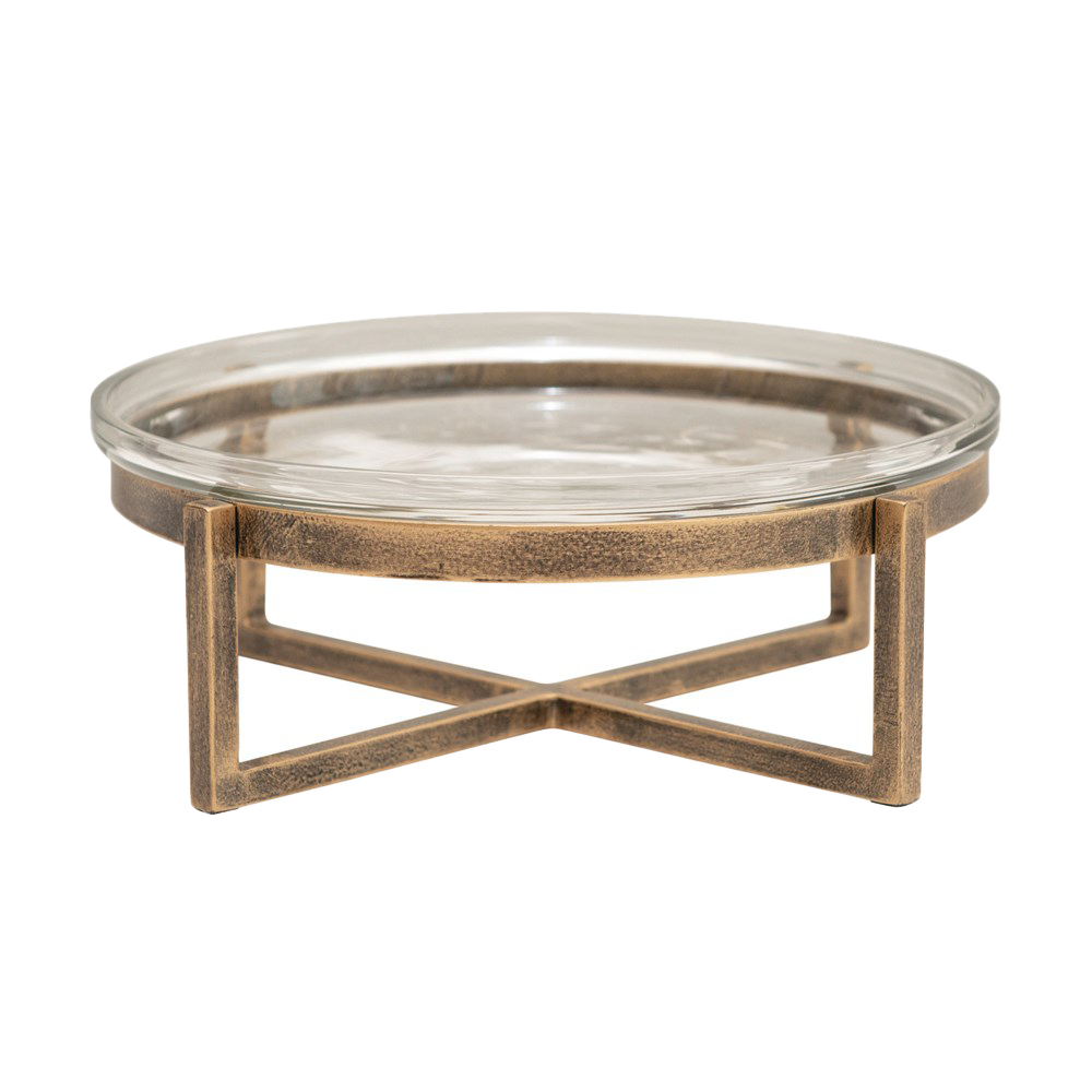 "8"" Round x 3""H Glass Serving Tray with Metal Stand, Antique Gold Finish, Set of 2-Tray-Dwell Chic"