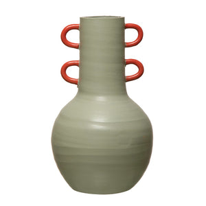 "9-1/4"" Round x 15-3/4""H Terra-cotta Vase w/ Glazed Coral Color Handles, Celadon Color-Vase-Dwell Chic"