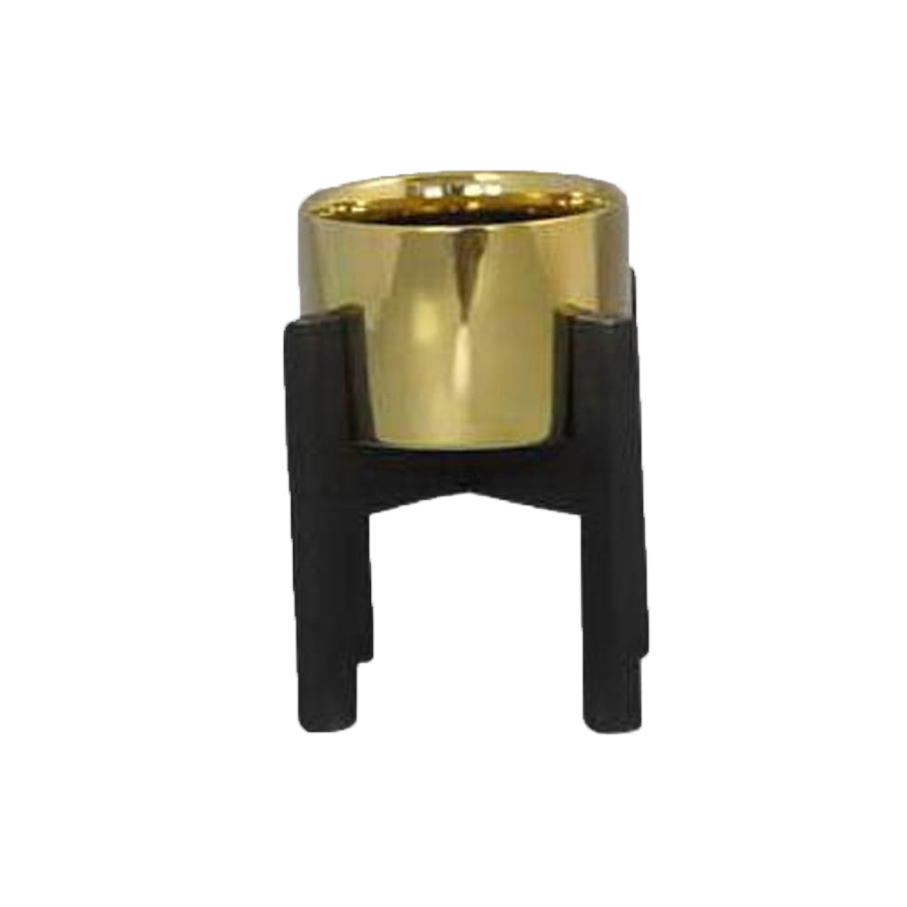 Dwell Chic-Gold and Black Ceramic Planter-Planter